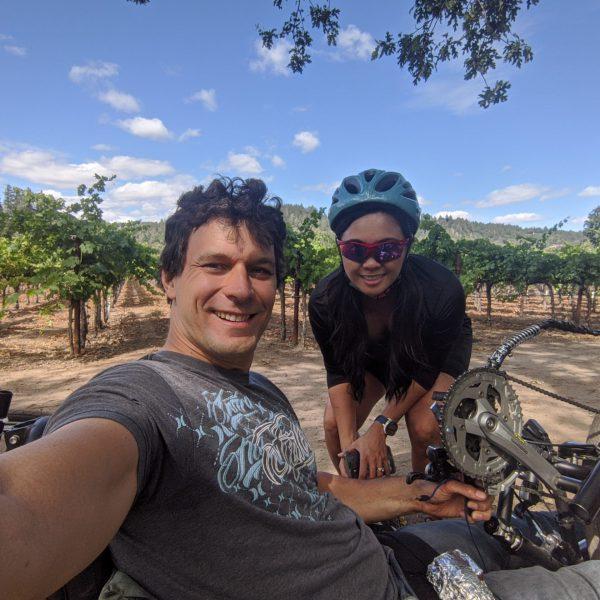 Biking in Napa and picnicking at a winery.